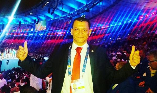 لاعب منتخب مصر لفريق الكرة الطائرة جلوس حسام مسعود
